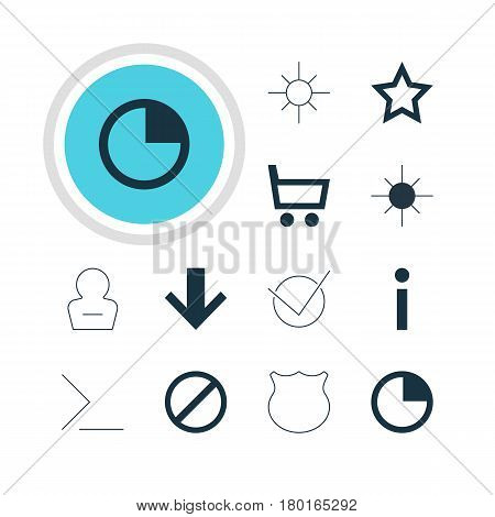 Vector Illustration Of 12 Interface Icons. Editable Pack Of Info, Wheelbarrow, Full Brightness And Other Elements.