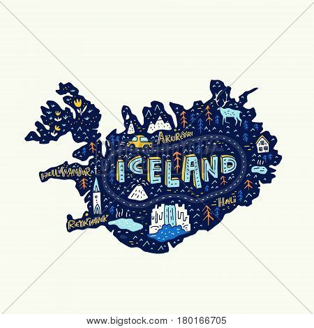 Illustrated map of Iceland. Vector cartography. Main tourist attractions made in vector.