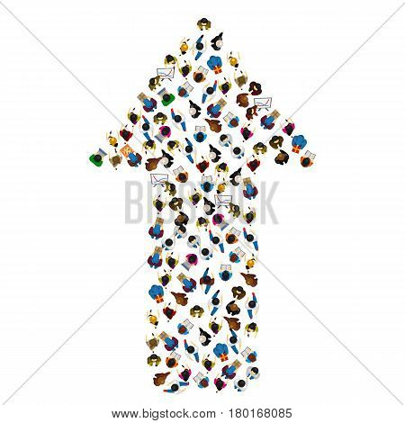 Large group of people in the shape of a grossing arrow, Way to success bussiness concept , Vector illustration