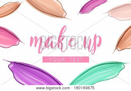 Cosmetic liquid foundation and lipstick smudge smear cream strokes isolated on white background. Make up vector template