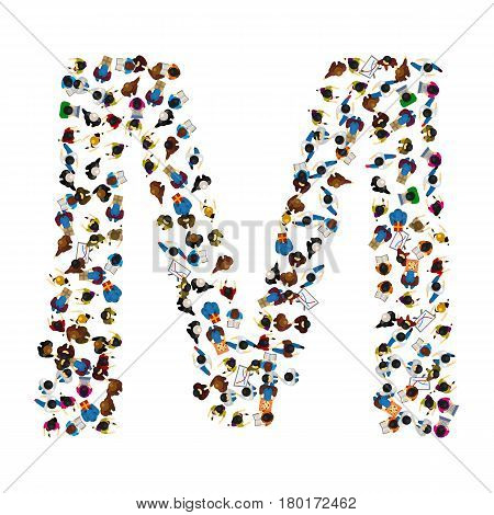 A group of people in the shape of English alphabet letter M on light background . Vector illustration.