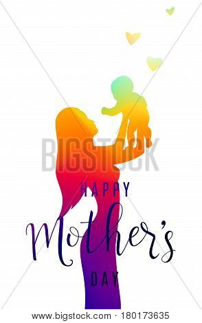 Vector illustration of people blurred color silhouette. Mother keep her child on her hands with love hearts isolated on white background. Holiday greeting text happy mother day