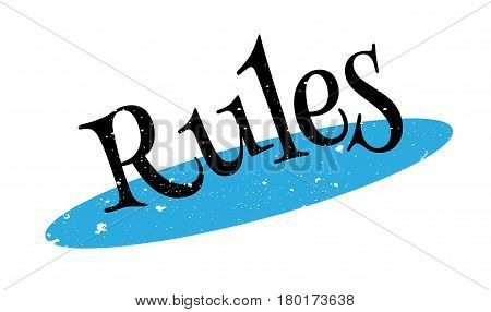 Rules rubber stamp. Grunge design with dust scratches. Effects can be easily removed for a clean, crisp look. Color is easily changed.