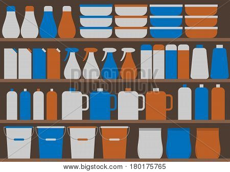 Store shelves with household chemicals. Vector illustration