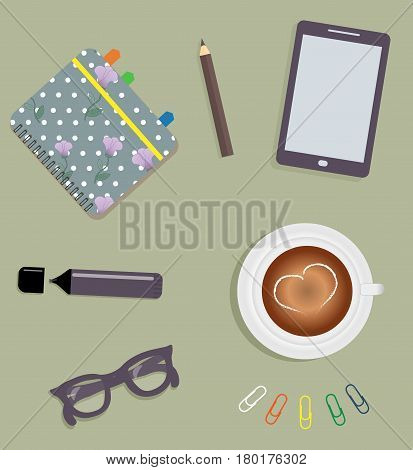 Stationery: A day planner spiral-bound with the cute purple flowers and polka dots. A tab. A marker. The glasses. A pencil. Clips. Tablet. A cup of coffee with a heart. Vector illustration.