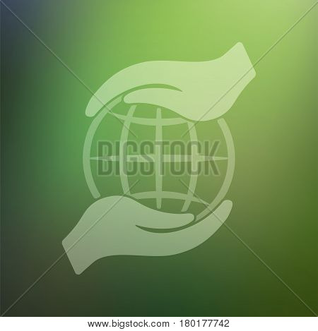 Human hands holding Earth save earth concept vector illustration