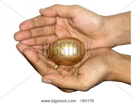 Golden Egg In Hands
