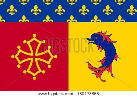 Flag of Hautes-Alpes is a French department in the southeastern of France. Vector illustration