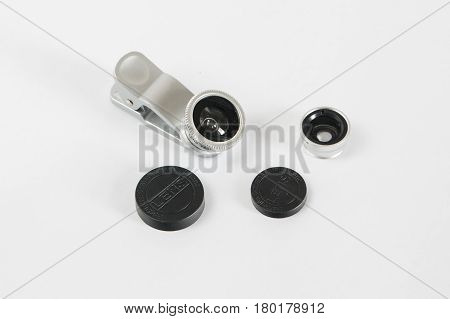 Fisheye Lens For Smartphone Set With Covers White Background
