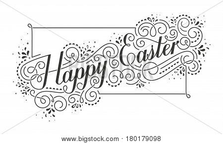 Happy Easter Calligraphic inscription. Typographic greeting card. EPS10 vector illustration.