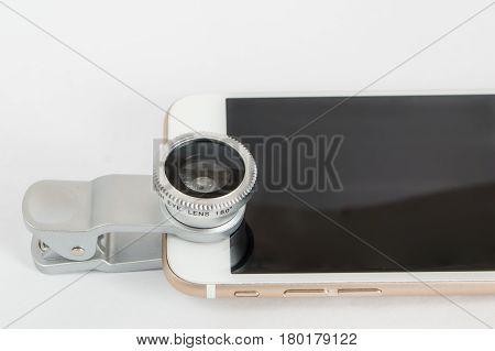 Set Fisheye Lens For Smartphone White Background