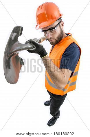 Funny image Of construction worker engineer with shovel in hands on white background