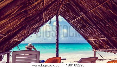 Beach hut by Playa blanca Baru next to Cartagena in Colombia