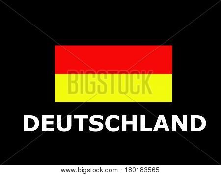 Deutschland white text below its flag. Black background with conceptual illustration of german flag