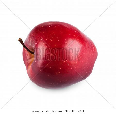 One purplish glossy red apple isolated on white background. Closeup image of sweet fruit, healthy natural organic food
