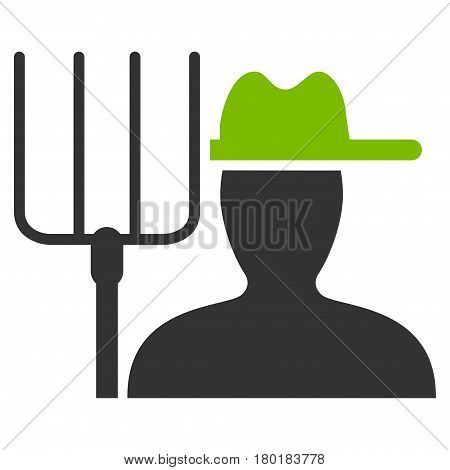 Farmer With Pitchfork vector icon. Flat bicolor eco green and gray symbol. Pictogram is isolated on a white background. Designed for web and software interfaces.