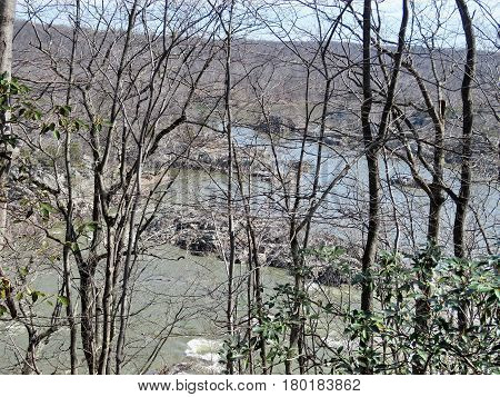 Stone islands on the Potomac River near Washington USA March 20 2017