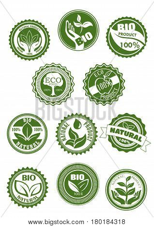 Eco green and natural food, bio, organic product symbol set. Green stamp badges with farm fresh apple fruit, leaf, tree, plant in hands and water drop for healthy product packaging label design