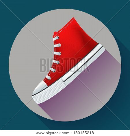 Red sneakers shoes for city running shoe flat design with long shadow.