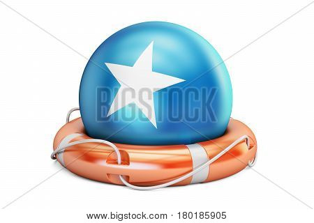 Lifebelt with Somalia flag safe help and protect concept. 3D rendering