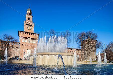 Castello Sforzesco, one of the symbols of Milan, Italy