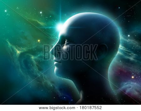 Human head silhouette over a space panorama. 3D illustration.