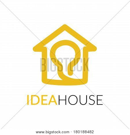 House line art shape. Vector symbol logo template easy to edit.