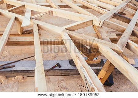 Wooden Roof Framework Of New Domestic, Residential House - Under Construction Details.
