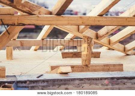 Close Up Details Of Roof System At Construction Site. Industrial Building
