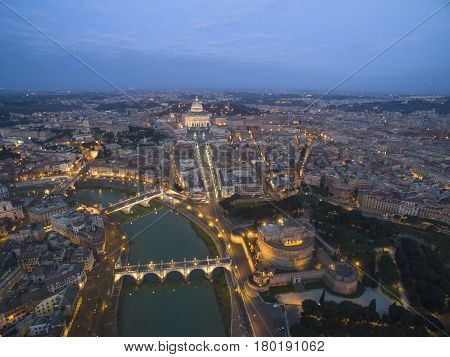 Beautiful aerial view over the City of Rome Vatican Castel Sant Angelo fortress and bridge