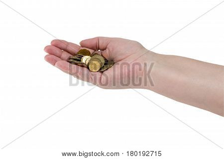 A Handful Of Coins In The Hands Of An Elderly Woman