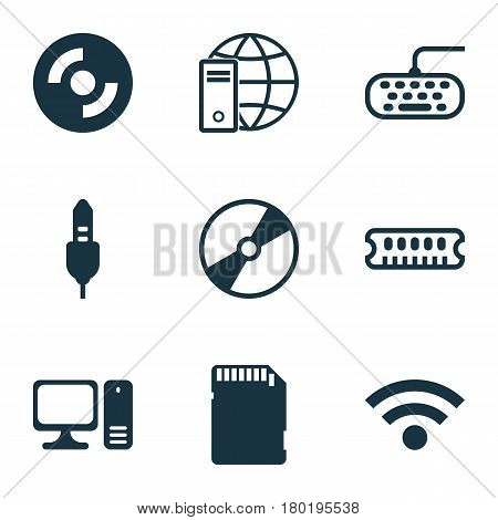 Set Of 9 Computer Hardware Icons. Includes Computer Keypad, Internet Network, Desktop Computer And Other Symbols. Beautiful Design Elements.