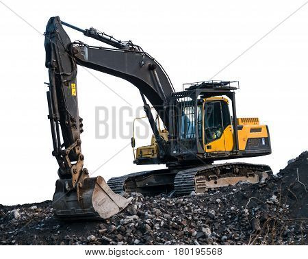 Isolated Grungy Old Digger Or Excavator On Top Of A Pile Of Rubble