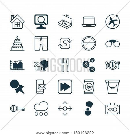 Set Of 25 Universal Editable Icons. Can Be Used For Web, Mobile And App Design. Includes Elements Such As Grains, Aircraft Arrow, Dessert And More.