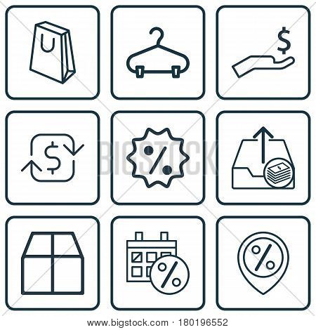 Set Of 9 Ecommerce Icons. Includes Black Friday, Discount Location, Recurring Payements And Other Symbols. Beautiful Design Elements.