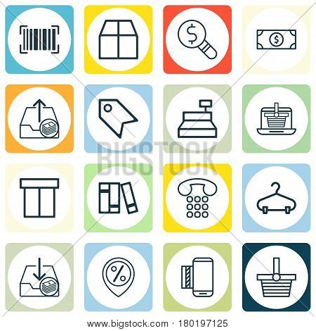 Set Of 16 Ecommerce Icons. Includes Outgoing Earnings, Discount Location, Cardboard And Other Symbols. Beautiful Design Elements.
