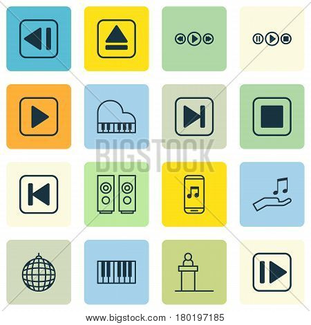 Set Of 16 Audio Icons. Includes Song UI, Sound Box, Start Song And Other Symbols. Beautiful Design Elements.