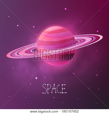Bright colorful planet with planetary rings. Space vector illustration in modern contemporary design. For card banner cover.