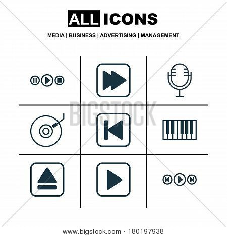 Set Of 9 Music Icons. Includes Mike, Extract Device, Audio Buttons And Other Symbols. Beautiful Design Elements.