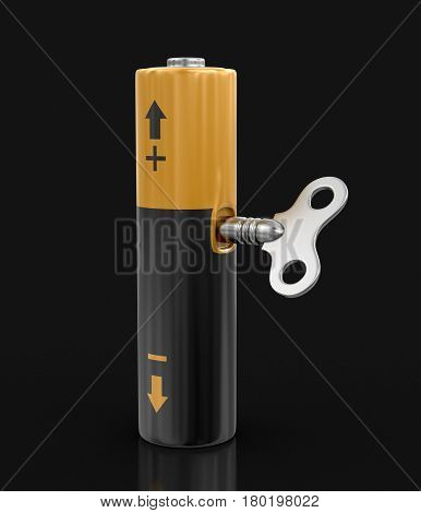 3D Illustration. Battery with Winding key. Image with clipping path