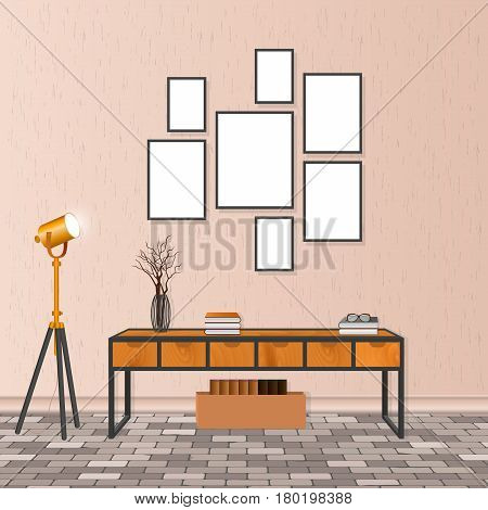 Mockup living room interior in hipster style with empty frames bureau lamp brick flooring and concrete wall. Loft design concept. Vector illustration.