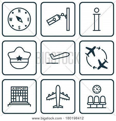 Set Of 9 Traveling Icons. Includes Fly Around, Airfield Manufacture, Pilot Hat And Other Symbols. Beautiful Design Elements.