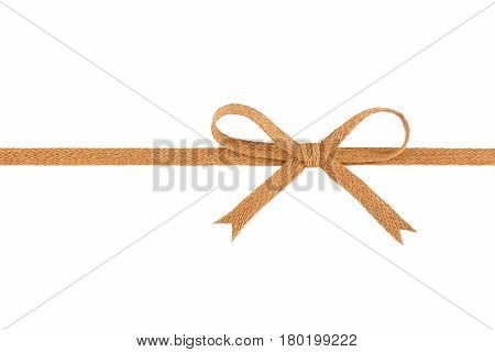 Burlap woven ribbon with bow isolated on white background