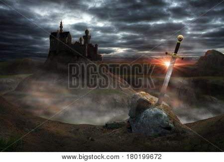 3D painting of the legendary castle Camelot of King Arthur and the sword Excalibur.