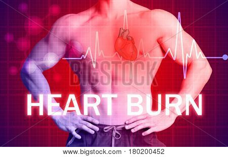 Health care concept. Text HEART BURN and man on background