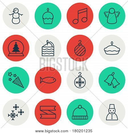 Set Of 16 Happy New Year Icons. Includes Ringer, Christmas Ball, Birthday Cake And Other Symbols. Beautiful Design Elements.