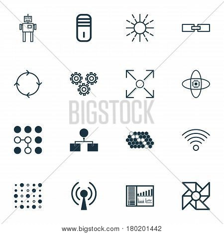 Set Of 16 Machine Learning Icons. Includes Recurring Program, Related Information, Branching Program And Other Symbols. Beautiful Design Elements.