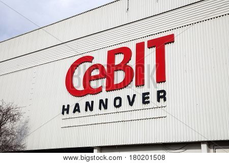 Hannover, Germany - March, 2017: Logo and sign of exhibition Cebit 2017 in Hannover Messe, Germany