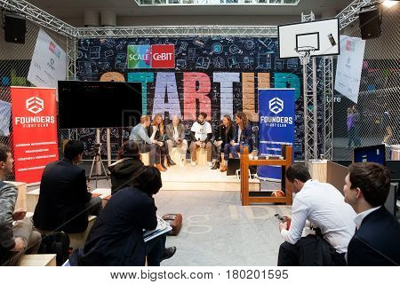 Hannover, Germany - March, 2017: Founders Fight club conference, live stage conference on exhibition Cebit 2017 in Hannover Messe, Germany