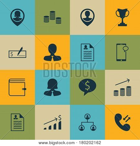 Set Of 16 Management Icons. Includes Coins Growth, Manager, Female Application And Other Symbols. Beautiful Design Elements.
